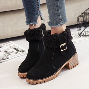 Zipper Ankle Boots Chunky Heel Shoes