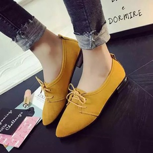 Women's Pumps Closed Toe Low Heel Suede Shoes