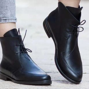 Women's Lace-up Ankle Boots Low Heel Boots (111852929)