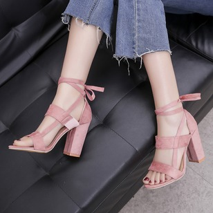 Lace-up Heels Cloth Chunky Heel Shoes