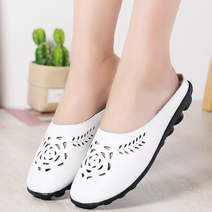 Hollow-out Closed Toe Low Heel Shoes