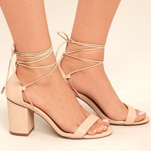 Lace-up Slingbacks Chunky Heel Shoes