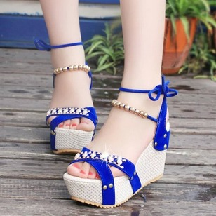 50bf6f133f8a Imitation Pearl Ankle Strap Wedge Heel Shoes