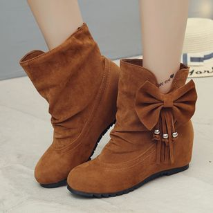 Bowknot Ankle Boots Wedge Heel Shoes