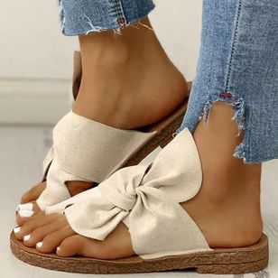 Women's Bowknot Flats Cloth Flat Heel Sandals (1530699)