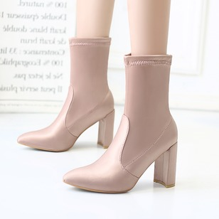 Mid-Calf Boots Silk Chunky Heel Shoes