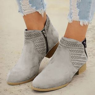 Women's Zipper Ankle Boots Low Heel Boots (107952993)