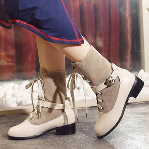 Buckle Lace-up Grommet Mid-Calf Boots PU Chunky Heel Shoes