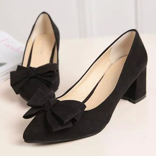 Bowknot Pointed Toe PU Chunky Heel Shoes