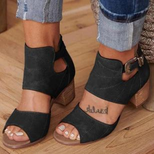 Women's Buckle Heels Chunky Heel Pumps (1339999)