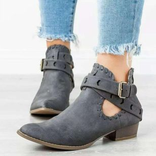 Women's Buckle Ankle Boots Pointed Toe Heels Low Heel Boots (146747190)