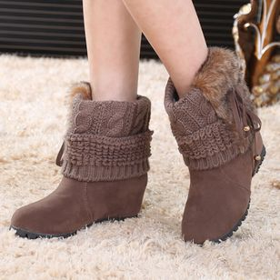Mid-Calf Boots Wedge Heel Shoes