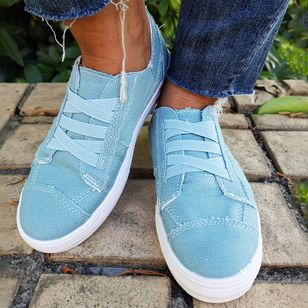 Women's Zipper Lace-up Round Toe Canvas Flat Heel Sneakers (5715805)
