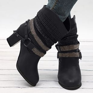 Women's Rhinestone Buckle Hollow-out Mid-Calf Boots Chunky Heel Boots (106703599)
