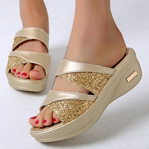 Women's Sequin Slingbacks Wedge Heel Slippers (4458632)