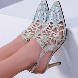 Women's Beading Buckle Pointed Toe Heels Leatherette Stiletto Heel Sandals (147065839)