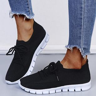 Women's Lace-up Closed Toe Fabric Flat Heel Sneakers (146853873)
