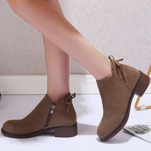 Women's Zipper Ankle Boots Cloth Low Heel Boots (107952764)