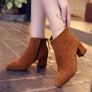 Zipper Ankle Boots Cloth Chunky Heel Shoes