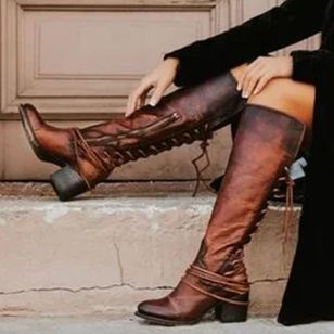 Women's Zipper Lace-up Knee High Boots Round Toe Heels Chunky Heel Boots (111852928)