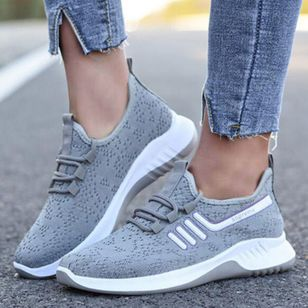 Women's Lace-up Closed Toe Fabric Flat Heel Sneakers (146712103)