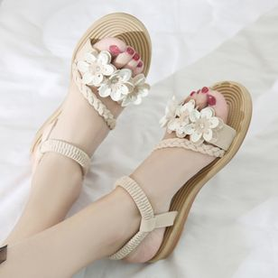 Women's Flower Slingbacks Flat Heel Sandals (4256602)