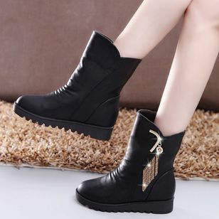 Tassel Mid-Calf Boots Wedge Heel Shoes