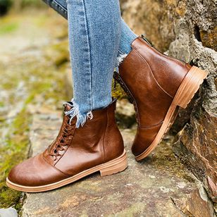 Women's Lace-up Ankle Boots Round Toe Low Heel Boots (111322175)