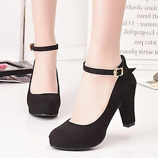 Women's Pumps Closed Toe Cone Heel Leatherette Shoes