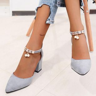 Women's Rhinestone Zipper Pointed Toe Heels Nubuck Chunky Heel Sandals (146897017)