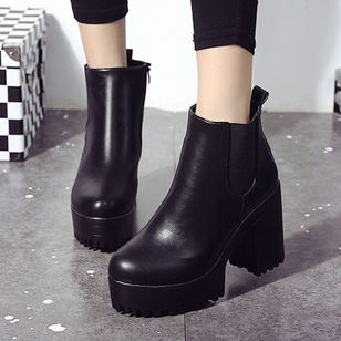 Lace-up Ankle Boots Low Heel Shoes