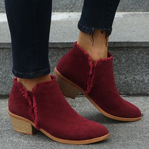 Women's Split Joint Ankle Boots Closed Toe Nubuck Chunky Heel Boots (146718177)
