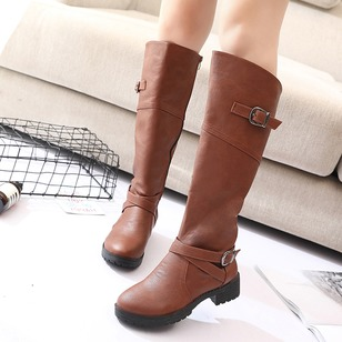 Buckle Knee High Boots PU Low Heel Shoes