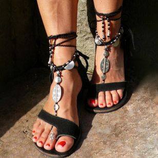 Women's Lace-up Toe Ring Flat Heel Sandals (1534006)