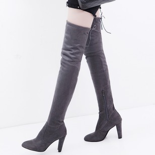 Zipper Over The Knee Boots Cloth Chunky Heel Shoes