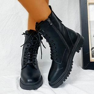 Women's Lace-up Ankle Boots Leatherette Low Heel Boots (108088272)