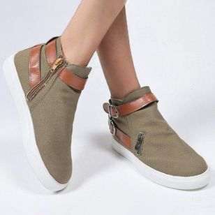 Women's Buckle Zipper Closed Toe High Top Canvas Flat Heel Flats (4088727)