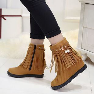 Pearl Tassel Ankle Boots Wedge Heel Shoes