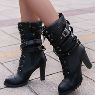Women's Buckle Zipper Lace-up Mid-Calf Boots Closed Toe Chunky Heel Boots (107952737)