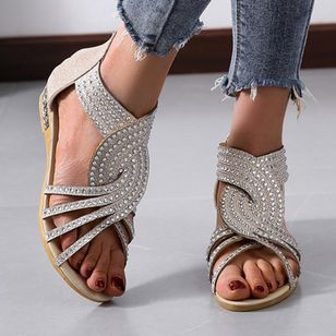 Women's Sparkling Glitter Zipper Low Heel Sandals (4042794)