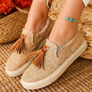 Women's Tassel Closed Toe Fabric Flat Heel Sneakers (147414829)