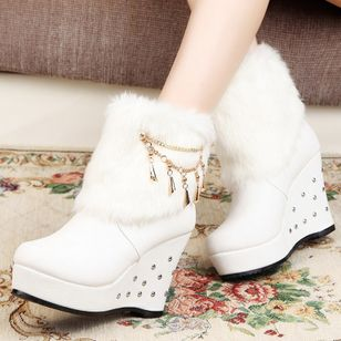Chain Split Joint Ankle Boots Wedge Heel Shoes