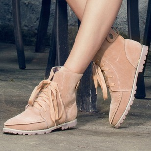 Lace-up Mid-Calf Boots Nubuck Flat Heel Shoes