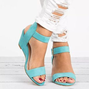 Women's Buckle Slingbacks Wedge Heel Sandals (4348144)