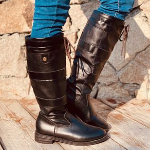 Women's Lace-up Knee High Boots Closed Toe Low Heel Boots (107952628)