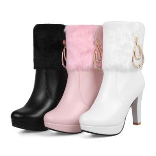 Rhinestone Split Joint Mid-Calf Boots Stiletto Heel Shoes