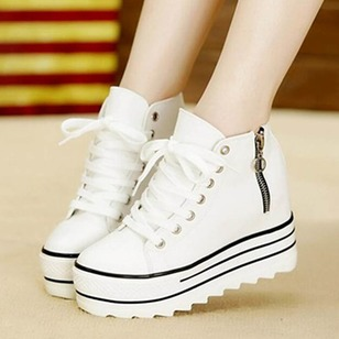 Women's Platforms Ankle Boots Wedge Heel Canvas Shoes