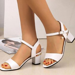 Women's Buckle Round Toe Heels Leatherette Chunky Heel Sandals (147089918)