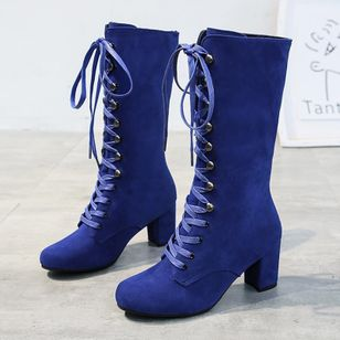 Women's Lace-up Mid-Calf Boots Round Toe Heels Cloth Chunky Heel Boots (101327221)