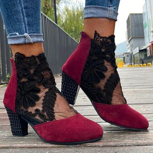 Women's Zipper Ankle Boots Fabric Chunky Heel Boots (147005392)